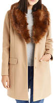 Oasis Fran Shawl Faux Fur Collar Coat, Tan