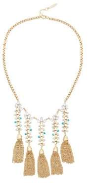 Sole Society Crystal, Dyed Quartz & Faux Pearl Tassel Statement Necklace