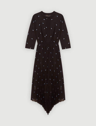 Maje Pleated dress with embroidered cashmere