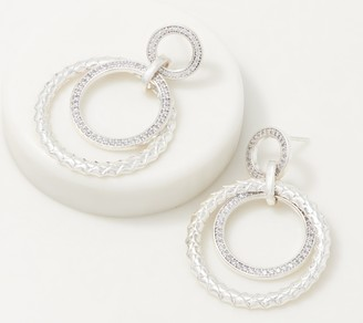 Diamonique Multi-Hoop Earrings, Sterling Silver