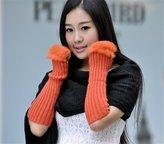 HotVally Girls Women Faux Fur Knitted Crochet Arm Fingerless Winter Warmer Gloves