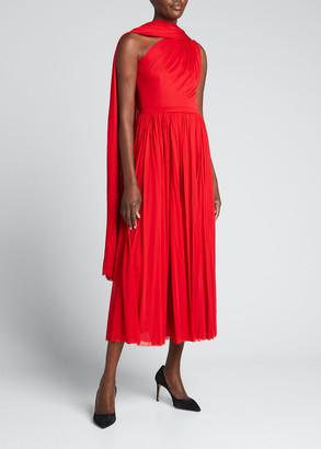 Alexander McQueen Sleeveless Asymmetrical Scarf-Neck Midi Dress