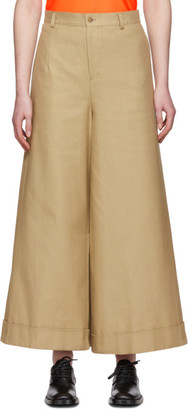Junya Watanabe Beige Asymmetric Cotton Trousers