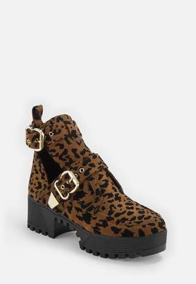 Missguided Brown Leopard Print Double Buckle Cleated Sole Ankle Boot