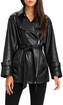 Belle & Bloom BFF Belted Black Leather Jacket