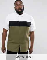 Asos Plus Regular Fit Shirt With Cut And Sew
