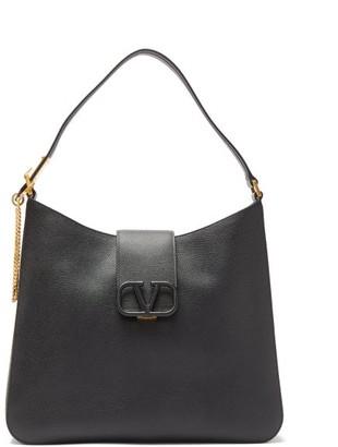 Valentino V-sling Large Grained-leather Shoulder Bag - Black
