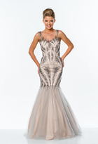 Terani Couture Embellished Illusion Jewel Neck Gown 151P0129B