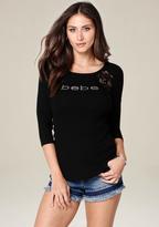 Bebe Logo Crochet Lace Top