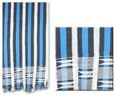 Cotton kente cloth scarf, 'Textured Blue'