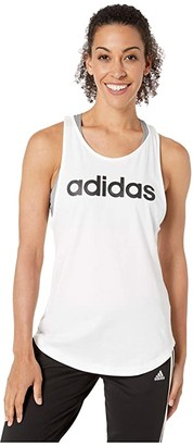 adidas Essentials Linear Loose Tank Top (White/Black) Women's Sleeveless