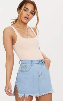 PrettyLittleThing Petite Light Wash Chain Detail Denim Mini Skirt