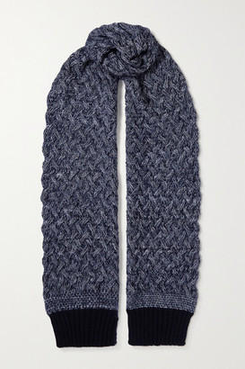 Chloé Cable-knit Melange Wool-blend Scarf - Navy