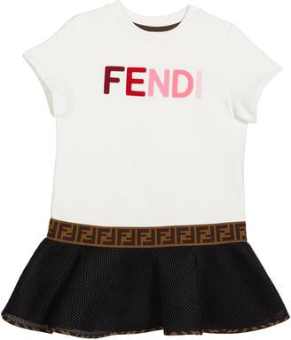 Fendi Girl's Short-Sleeve Multicolor Logo Dress, Size 8-14
