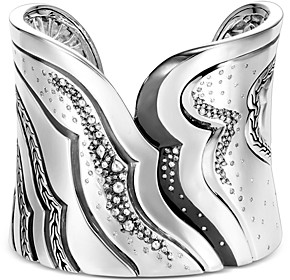 John Hardy Sterling Silver White & Gray Diamond Extra Large Cuff