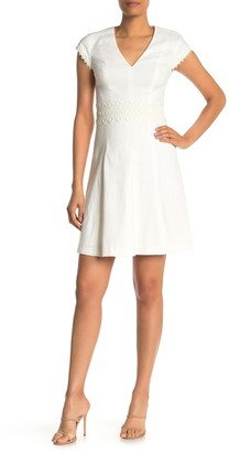 Elie Tahari Whitney Lace Detail V-Neck Dress