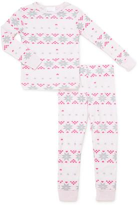 Bebe Girls' Sleep Bottoms LTPNK - Light Pink Fair Isle Pajama Set - Girls