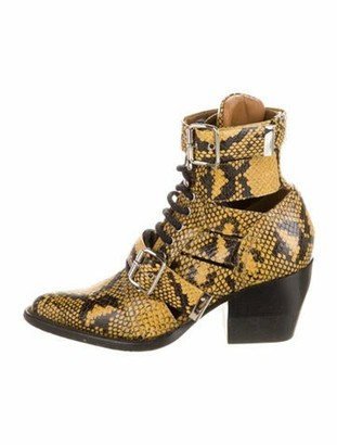 Chloé Snakeskin Animal Print Lace-Up Boots Yellow