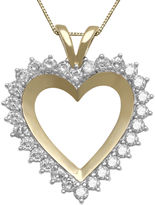 FINE JEWELRY 1 CT. T.W. Diamond 10K Yellow Gold Heart Pendant Necklace