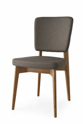 Ebern Designs Mikhail Upholstered Dining Chair Finish: Graphite, Upholstery Color: Smoke Gray