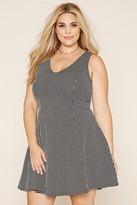 Forever 21 FOREVER 21+ Plus Size Grid-Patterned V-Neck Dress