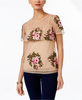 INC International Concepts Embroidered Ruffled Top, Only at Macy's