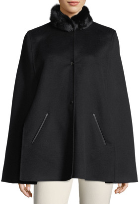 Loro Piana Winter Short Fur-Collar Cape