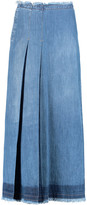 See by Chloe Frayed pleated denim maxi skirt