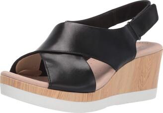 Clarks Women's Cammy Pearl Wedge Sandal Black Leather 095 W US