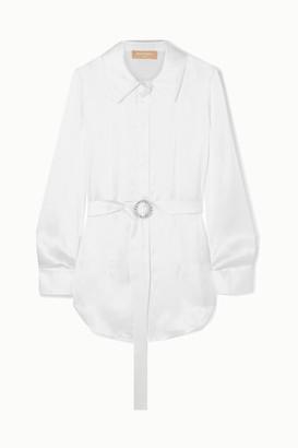 MATÉRIEL Belted Silk-satin Shirt - White