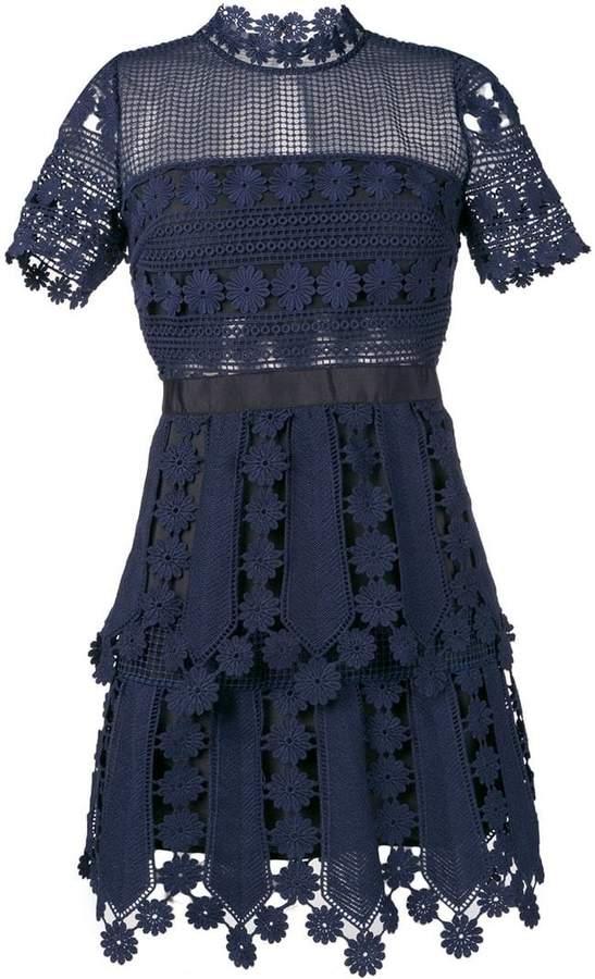 Self-Portrait crochet detail mini dress