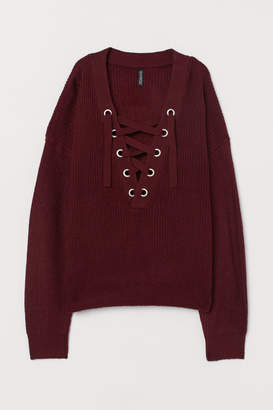 H&M H&M+ Sweater with Lacing - Red