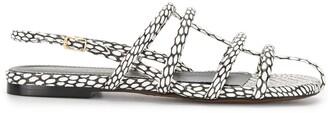 Proenza Schouler Snakeskin Strappy Flat Sandals