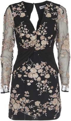 Self-Portrait Self Portrait Sequins Floral Embroidery Dress With Long Sleeves