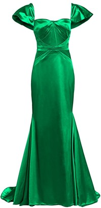 Zac Posen Stretch Satin Short Sleeve Gown