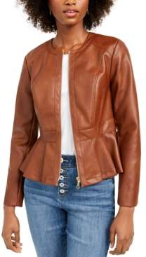 INC International Concepts Inc Petite Faux-Leather Peplum Jacket, Created For Macy's