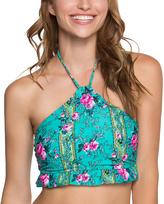 Betsey Johnson Emerald In Bloom Halter Tankini Top