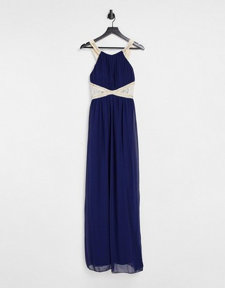 Little Mistress Bridesmaid chiffon maxi dress with embellishment and lace detail in navy