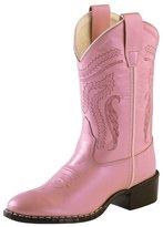 Old West Cowboy Boots Girls Kids Leather Round TPR Silver 1160