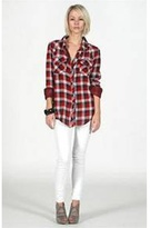 Kendra Navy and Red Plaid Gauze Shirt