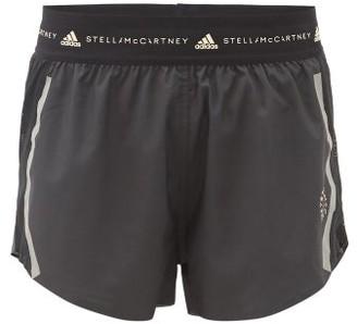 adidas by Stella McCartney Truepace Logo-print Mesh-panel Dobby Shorts - Black