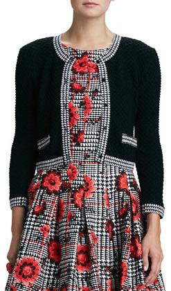 Oscar de la Renta Floral-Houndstooth Cloque Dress