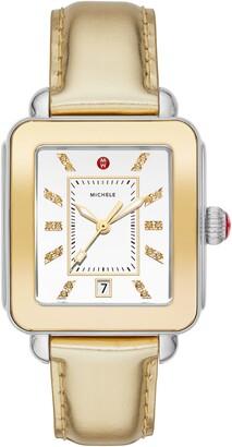 Michele Deco Diamond Sport Watch Head & Leather Strap Watch, 34mm x 36mm