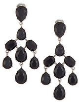 Oscar de la Renta Floating Crystal Chandelier Earrings, Jet