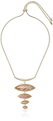 Kendra Scott Morris Gold Plated Crackle Brown Mother of Pearl Pendant Necklace