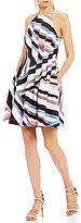 Vince Camuto Stripe Halter Fit And Flare Dress