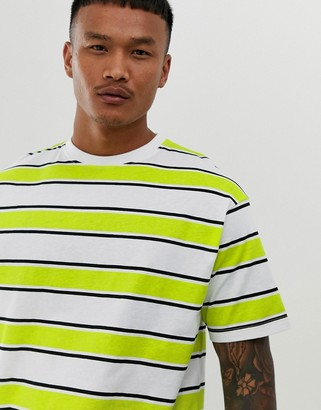 Another Influence boxy lime stripe t-shirt