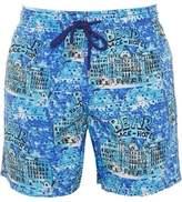 Vilebrequin Mens Moorea Swim Shorts Blue Bear Hotel Print Swimwear