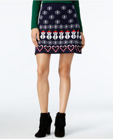 Planet Gold Juniors' Holiday-Print Fit & Flare Sweater Skirt