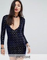Motel Deep V Plunge Mini Dress in Baroque Sequin
